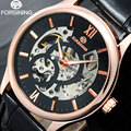 FORSINING brand men Mechanical watches male skeleton hand wind watches artificial leather band wristwatches relogio masculino