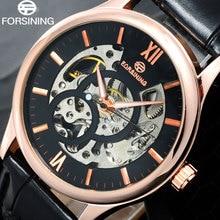 FORSINING marque hommes Mécanique montres mâle squelette main vent montres artificielle bracelet en cuir montres relogio masculino