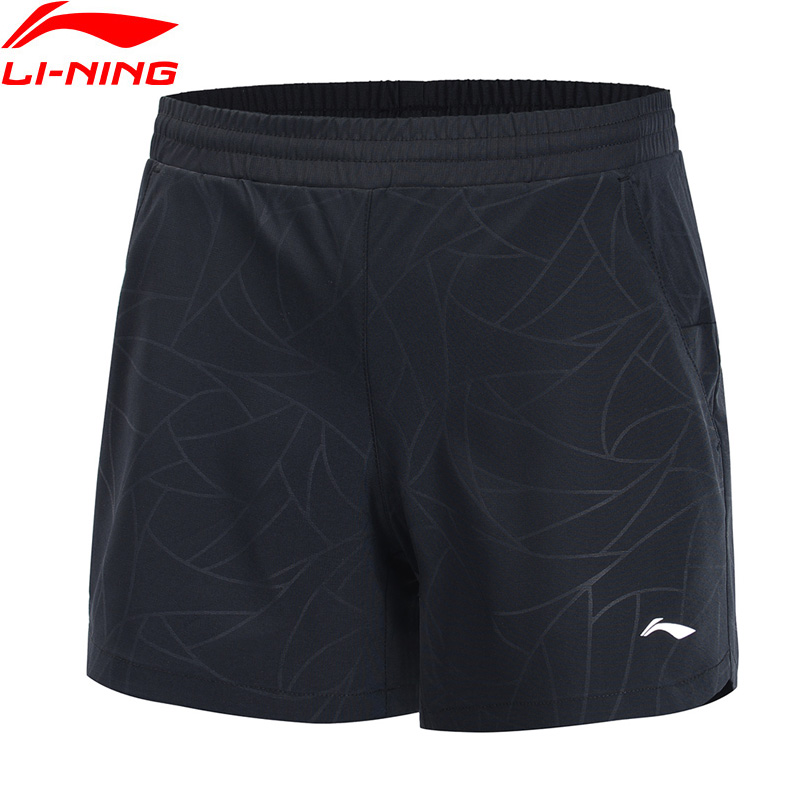 Li-Ning Women Training Series Sports Shorts 100% Polyester Breathable Regular Fit LiNing Fitness Sport Shorts AKSP016 WKD613(China)