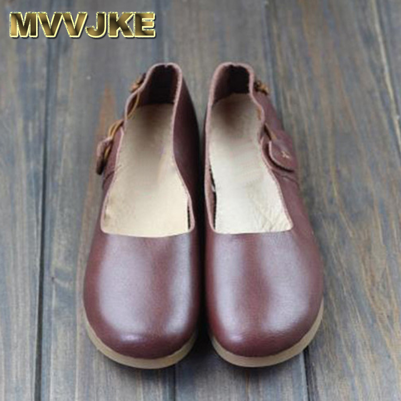 MVVJKE Women Flat Shoes 1005 Genuine Leather Ballerina Flats Round toe Slip on Ballet Flats Spring/Autumn Footwear pinsen spring women genuine leather ballet flats casual shoes round toe slip on flats female loafers ballerina flats boat shoes