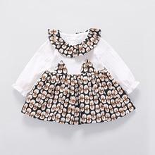 2017 Autumn Cotton Infant Baby O Neck Long Sleeve Rabbit Ear Floral Print Girls Dress Princess Kids Clothes vestidos