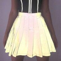 Женские плиссированные юбки с высокой талией 2019 летняя новая модная Светоотражающая юбка