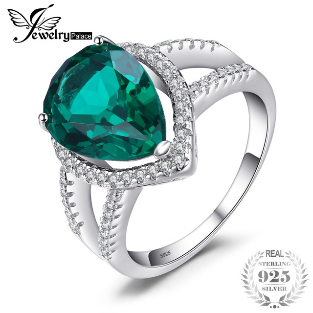 JewelryPalace Pear 4ct Green Created Emerald Engagement Wedding Ring Genuine Pur