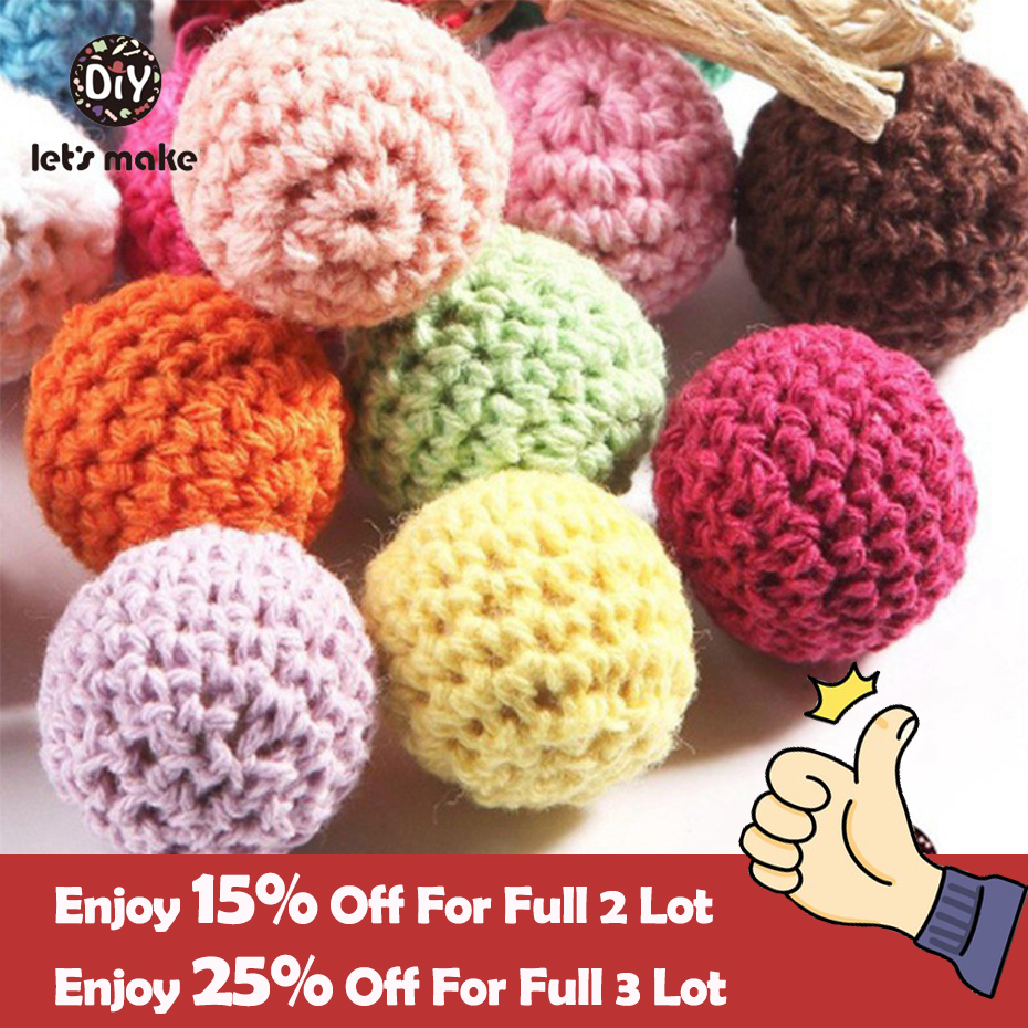 Let's Make Beads Jewelry Chunky Wooden Crochet Beads 100pc Nursing Toy Teething Mix Colour Wood Beads With Crochet 20mm Teether