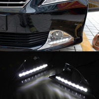 For Toyota Camry 2011 2012 2013 2014 LED Daytime Running Light ABS Fog Lamp Cover With Yellow Turning Signal Car Styling