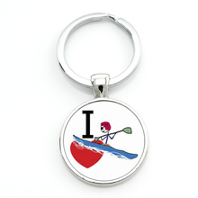 New Arrival casual sports Cano Slalom Kayak keychain keyring vintage Love Kayaking Polo women men key chain ring jewelry SP605