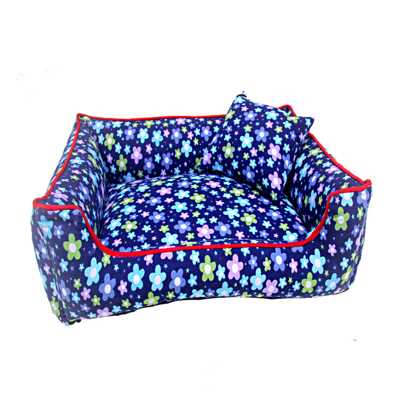 Litter Flower pattern Dog Bed & Sofas Pet kennel cotton <font><b>canvas</b></font> Teddy <font><b>nest</b></font> <font><b>Blue</b></font> Pillow and cover included