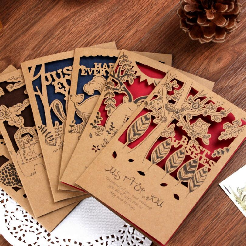 12pcs/set Retro Small Animal Hollowed Kraft Paper Greeting Card Postcard Birthday Gift Card Set Mother Day Message Card retro hollow kraft paper greeting card creative business gift card father s mothers day blessing card wedding cards 10pcs pack