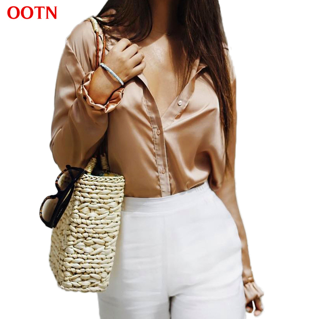 OOTN Satin Blouses Women Long Petal Sleeve Female Silk Tunic Shirts Autumn Button Down Tops Casual Clothing Spring Office