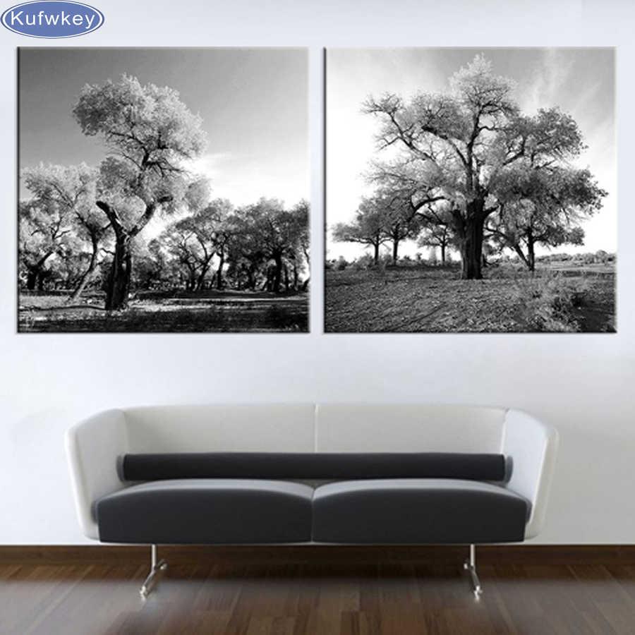 2 шт./набор, 5D DIY Алмазная Вышивка Белое и черное дерево, полная Алмазная картина, вышивка крестиком, мозаика из горного хрусталя, украшение для дома