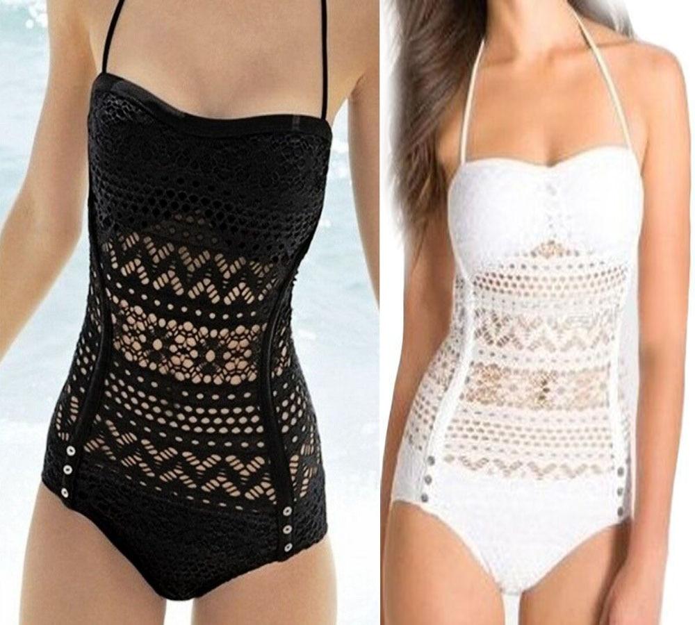2017 Sexy Lace One Piece Swimsuit Bathing Suit Women Bikini Set Bodycon Bodysuit Beachwear Halter Monokini Padded Swimwear ruuhee one piece swimsuit swimwear bodysuit bikini set women black