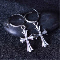 Men Women 925 Silver Punk Drop Earrings Cross Huggie Earrings Circle Simple Ear Fashion Tassels Crosses Body Piercing Jewelry