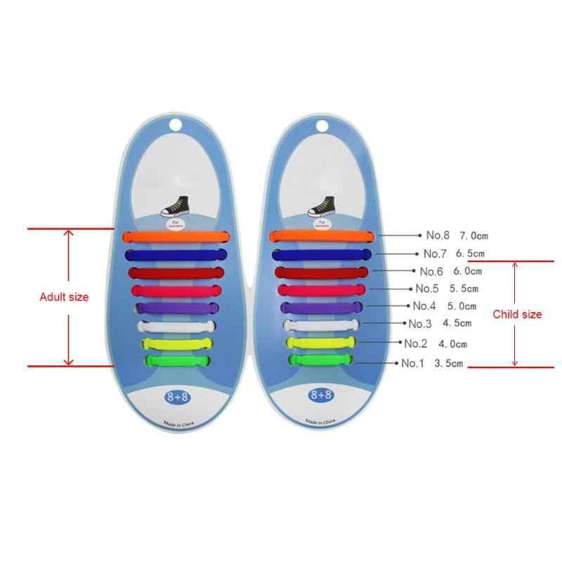 16pcs/set Silicone Shoelaces No Tie Shoe Laces Fashion Unisex Silicone Shoe Lace Children Elastic Multifunctional Shoe Strings