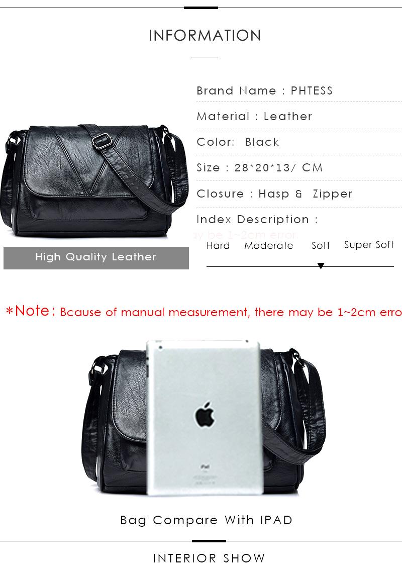 18 Women Messenger Bags Crossbody Soft Leather Shoulder Female Bag Flap Bolsa Feminina Designer Handbags High Quality Brand 2