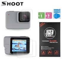SHOOT podwójny ekran LCD i szkło ochronne obiektywu do GoPro Hero 7 srebrno biały aparat ochronny do Go Pro Hero 7 srebrny