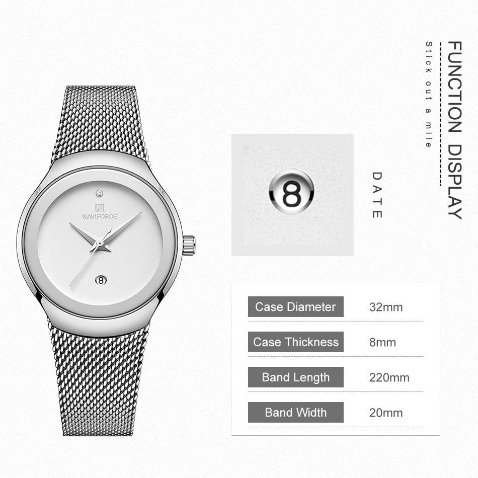 NAVIFORCE Relojes de mujer Top Marca de lujo Señora Moda Casual Correa de malla de acero simple Regalo de reloj de pulsera para niñas Relogio Feminino (2)
