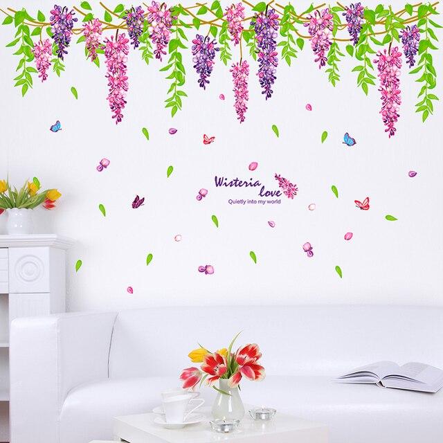 shijuehezi] purple cirrus plant wall stickers flowers wall decals