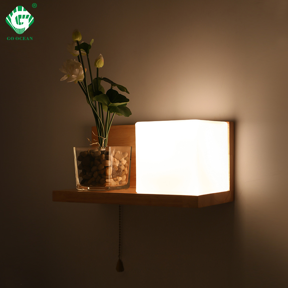 Wood LED Wall Light Stair Loft Decor Sconce with Switch Wall Lamp Decoration Nordic Applique Bedside