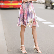 AcFirst Summer Purple Women Fashion Skirts Sexy High Waist Preppy Style Pleated Knee Length Plus Size A-Line
