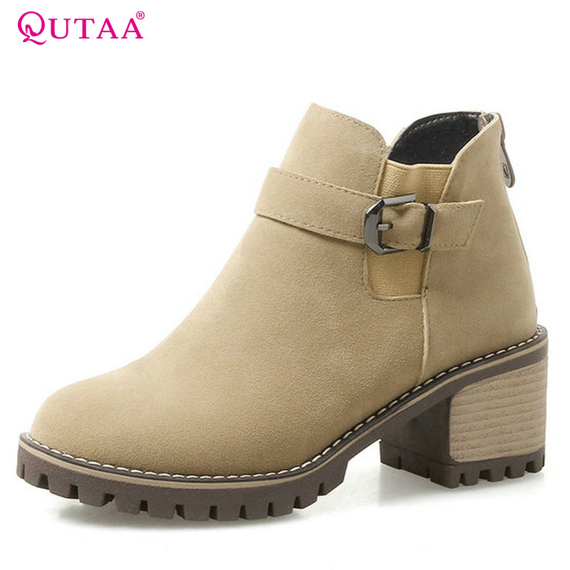 QUTAA 2018 Women Ankle Boots High Quality Round Toe Pu + Szrub Leather Zipper Square High Heel Women Fashion Boots Size  34-43 popular high quality full grain leather ankle boots size 40 41 42 43 44 sequined decoration zipper design round toe boots