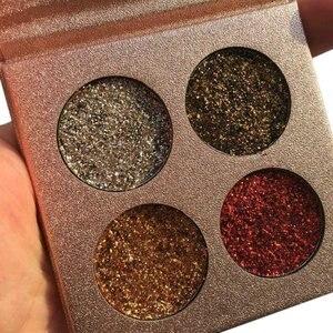 Красота глазурованная 4 Цвета Палитра теней для век палитра для макияжа блестящие тени для век радужные алмазные прессованные Maquiagem