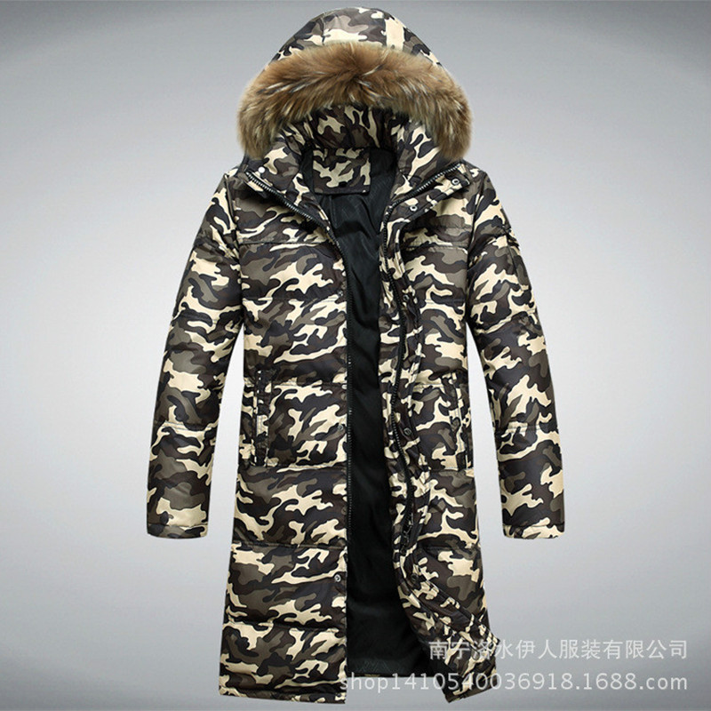 man camouflage long Down jacket 2017 autumn winter fashion man high end European American style design