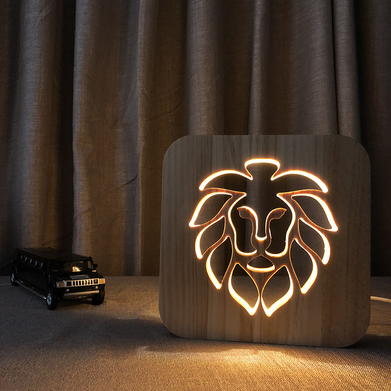 3D Wooden Lamp Lion Style USB LED Table Light Warn White Bedside Night Lamp Wood Carving Lamp for Baby Kids Room Decoration