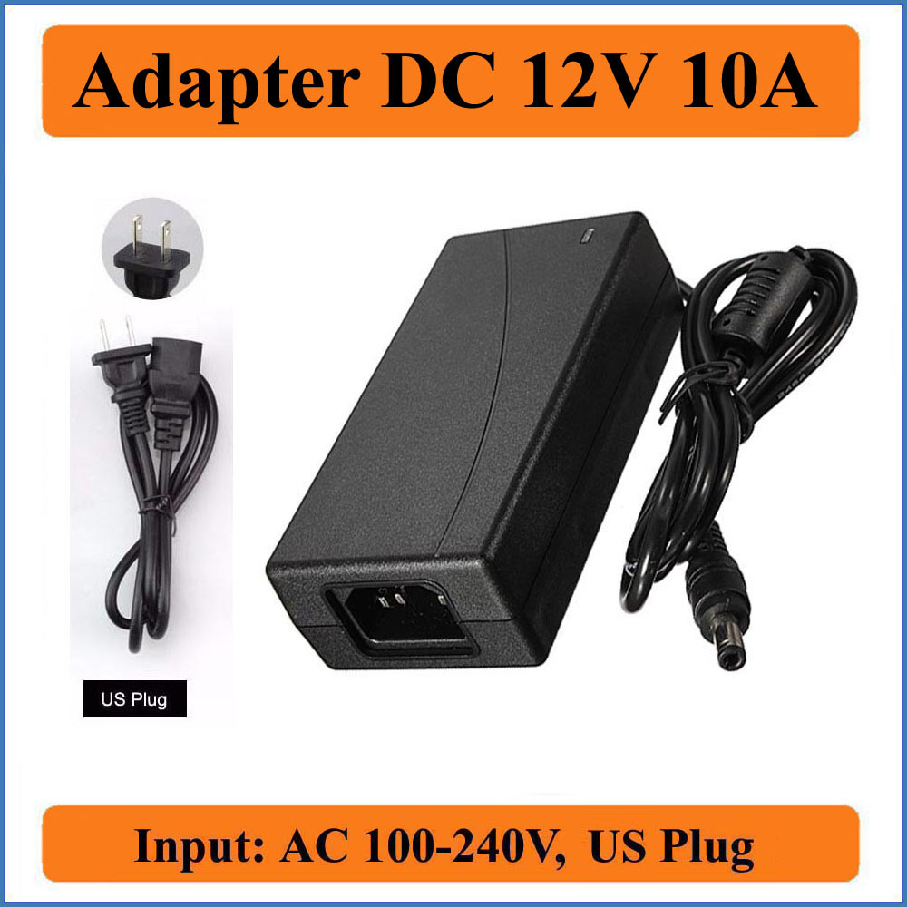 12V 10A US Plug AC DC Adapter AC100-240V Converter to DC 12V 120W Power Supply Charger for 5050/3528 SMD LED strips/LCD Monitor 300 5050 smd led 6500k white light strip led dimmer 12v 5a power converter us plug adapter set