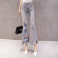 New Embroidery Bead Tassel Jeans For Women Fashion Ankle Length Stretch Holes Jeans Ladies High Street Casual Denim Flare Pants