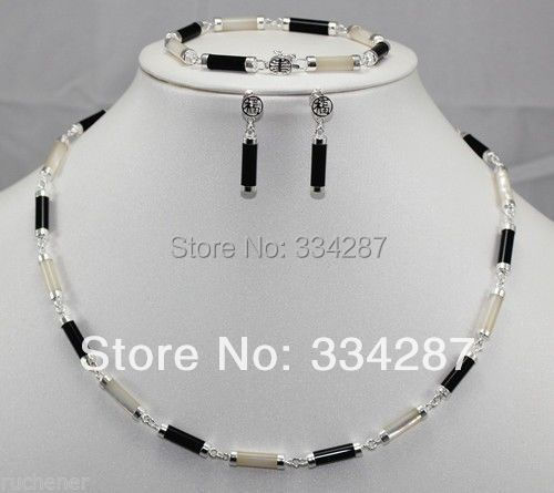 New design Natural Black Onyx White Shell Silver Link Necklace Earrings Set 43CM