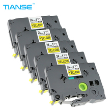 TIANSE 5pcs Label Tapes Compatible for Brother P-touch Printer TZ 24mm Black on Yellow TZe-651 TZe651 TZe 651 p touch