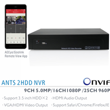ANTS 9CH 5MP, 16CH 2MP, 25CH 960P Onvif NVR with AEEye and Goolink P2P App live view and playback support HDMI Audio output