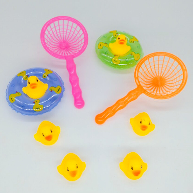 4pcs/set Baby Washing Swimming Mini Swimming Rings Rubber Yellow Ducks Fishing Net Cute Floating Bath Toys For Baby Water Toy