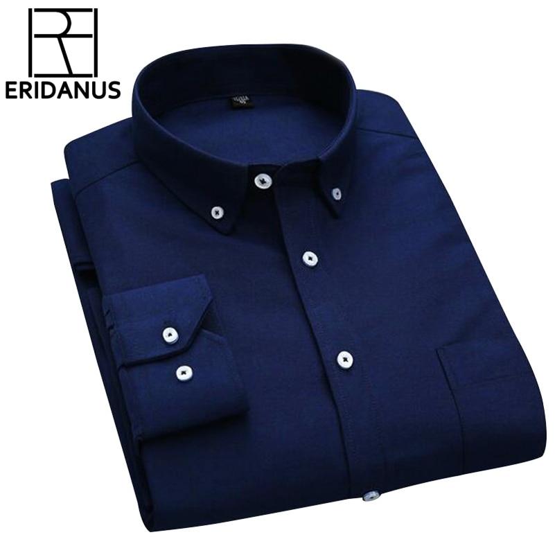 2a659ccc7 قميص أوم الرجال الصلبة قميص 2017 ماركة الأعمال عارضة طويلة الأكمام بدوره  إلى أسفل طوق قميص رجالي اللباس أكسفورد الملابس 4XL x090