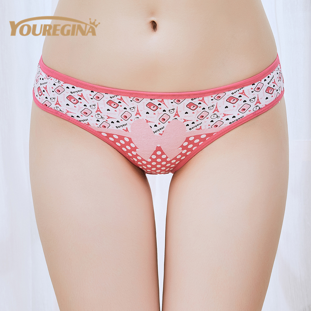 Cartoon Candy Color Cute Facial Expression Low Waist Panties Solid Color One Size Women's Panties