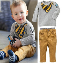2016 Autumn Spring Kids Clothing Sets Long Sleeve T-Shirt + Pants Children's Sports Suit Boys Clothes Baby set free shipping