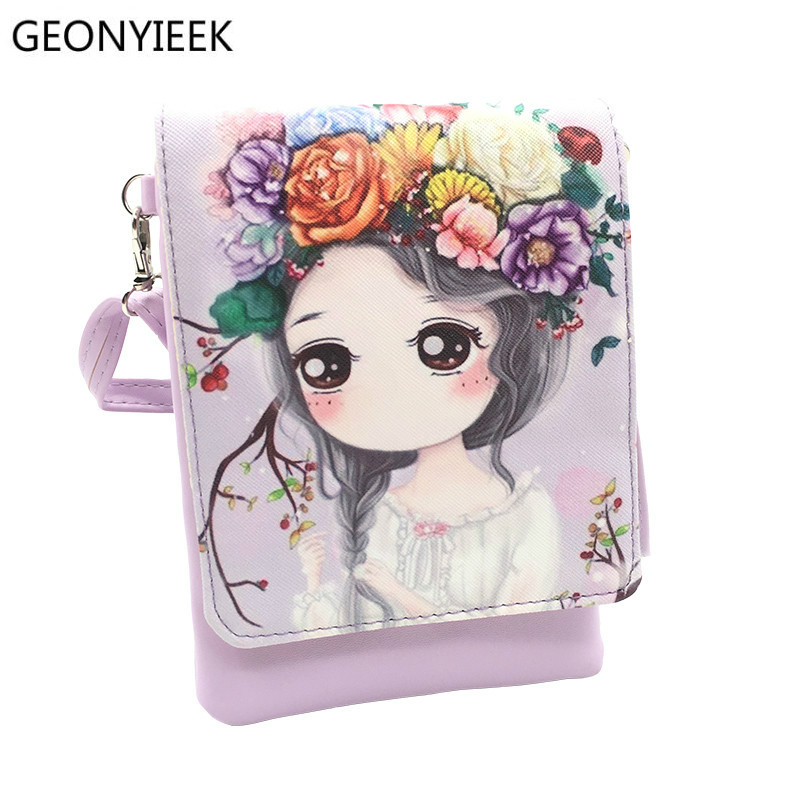 New Woman Cute Cartoon Printed Flap Women Shoulder Bags Female Purse and Handbags Girls Children Mini Crossbody Bag Female bag yfjewe crystal necklace women rhinestone pendant necklace ribbon choker bib collar necklace n084