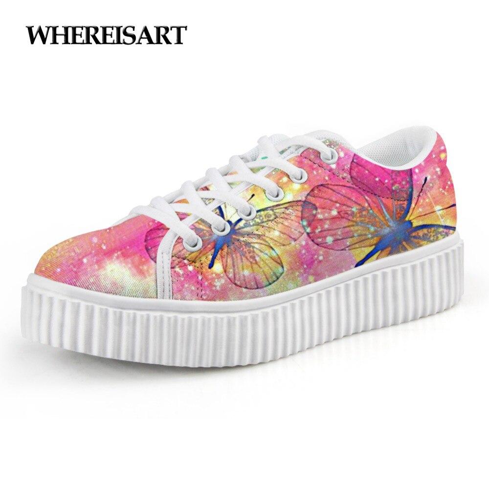 Motif mignon Animal papillon motif femmes chaussures plates-formes femme classique faible Style hauteur augmentant chaussures pour femme