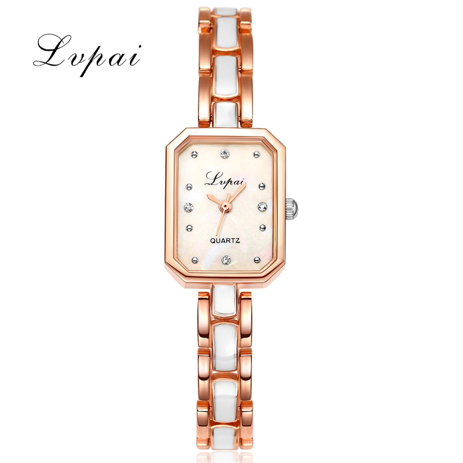 Lvpai Brand Women Alloy Bracelet Watch Women Luxury Crystal Rectangle Dial Quart