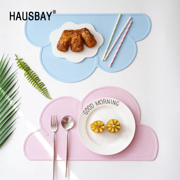 Children's Tableware Mat 47x27cm FDA Silicone Placeat Bar Mat Baby Kids Cloud Shaped Plate TableMat Home Use Kitchen Pads 1255