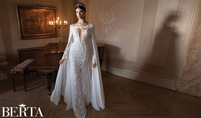 78223af7533a Vestido De Noiva Berta Lace 2015 Mermaid Wedding Dresses With Free  Detachable Lace Cape Sexy V ...
