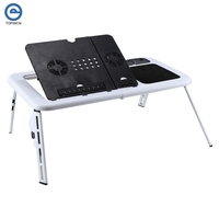 Hot Portable Folding Laptop Desk Adjustable Computer Table Stand Foldable Table Cooling Fan Tray For Bed