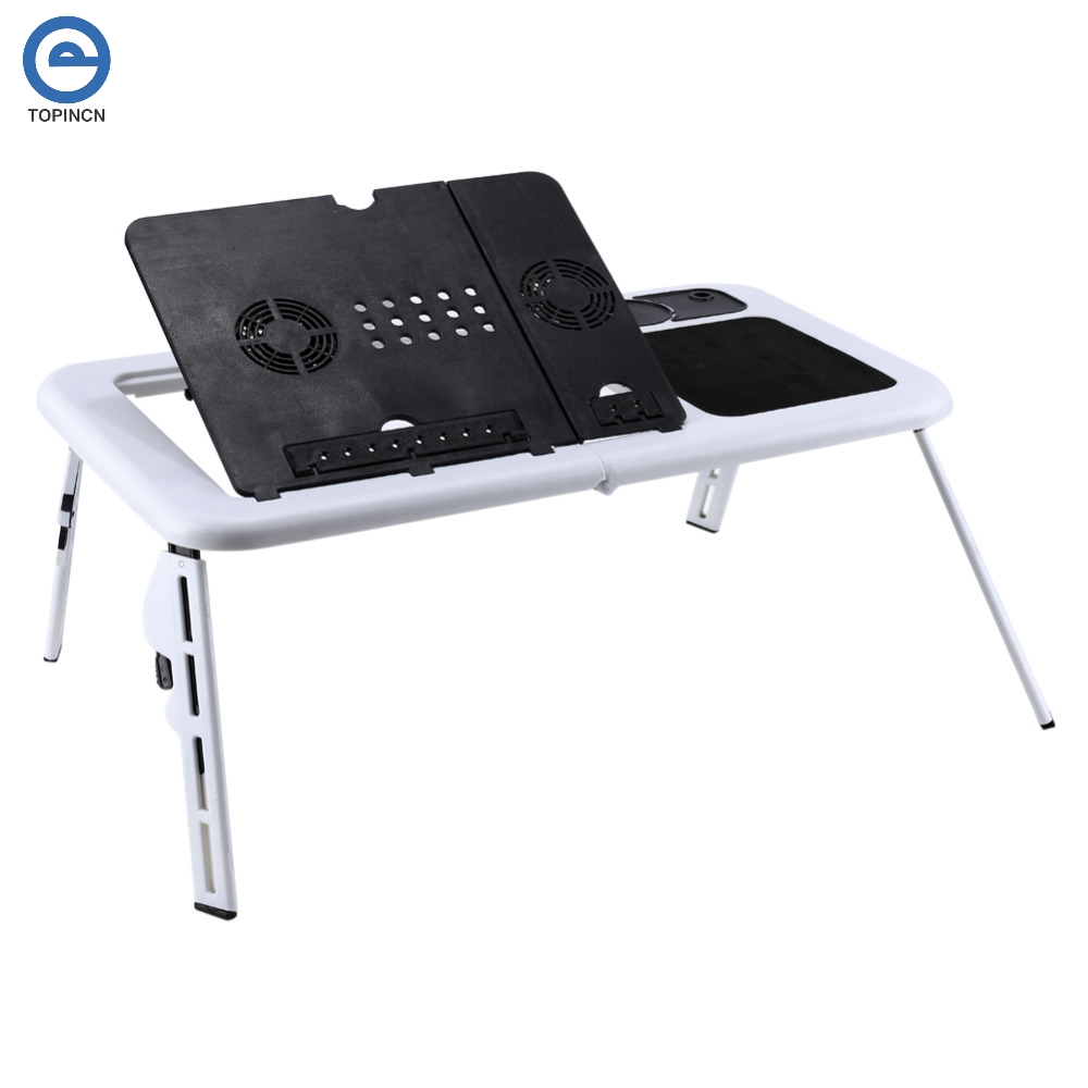 Folding Laptop Desk Portable Desk Bedroom Living Room Tray Rack with Mouse Pad and Cooling Pad Black Silver Color : Silver