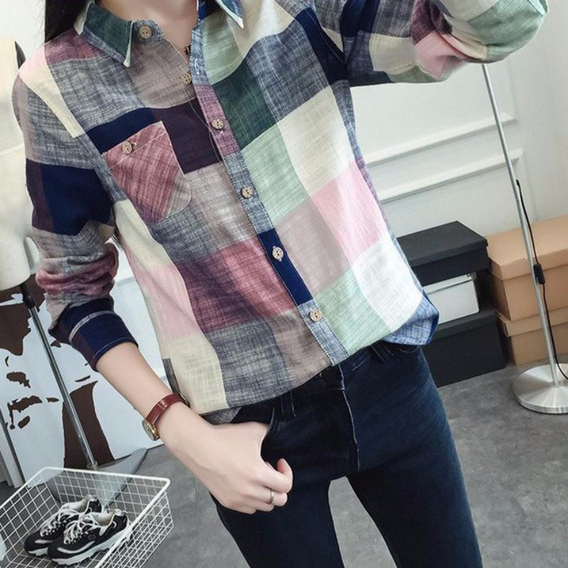 Fashion Women Shirt Female Casual Long Sleeve Plaid Women Slim Outerwear Blouse Tops Ladies Office Career Blusas Chemise Vadim*