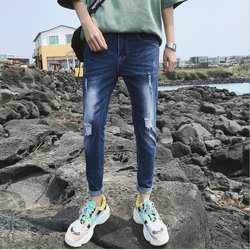 Для мужчин джинсы летние Для мужчин Tide бренд отверстия брюки узкие брюки для мальчиков укороченные джинсы