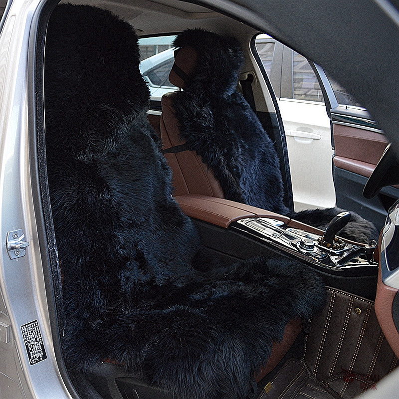 2 Pieces Lot DUMI Black Color Long Wool Auto 100 Genuine Sheepskin Fur Car Seat Covers Universal Fit In Automobiles From