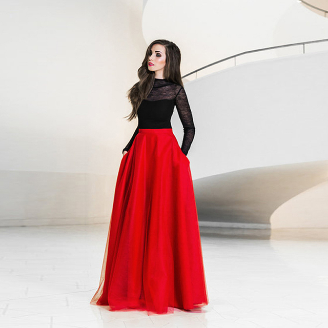 fc0805e04 € 24.57 8% de DESCUENTO|Elegante Maxi falda de tul con bolsillos alta  cintura hasta el suelo faldas largas Rojas mujeres tutú Formal fiesta falda  ...