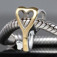 New DIY Gold Key Charms Original 100% Authentic 925 Sterling Silver Beads fit for Pandora bracelets & Necklaces