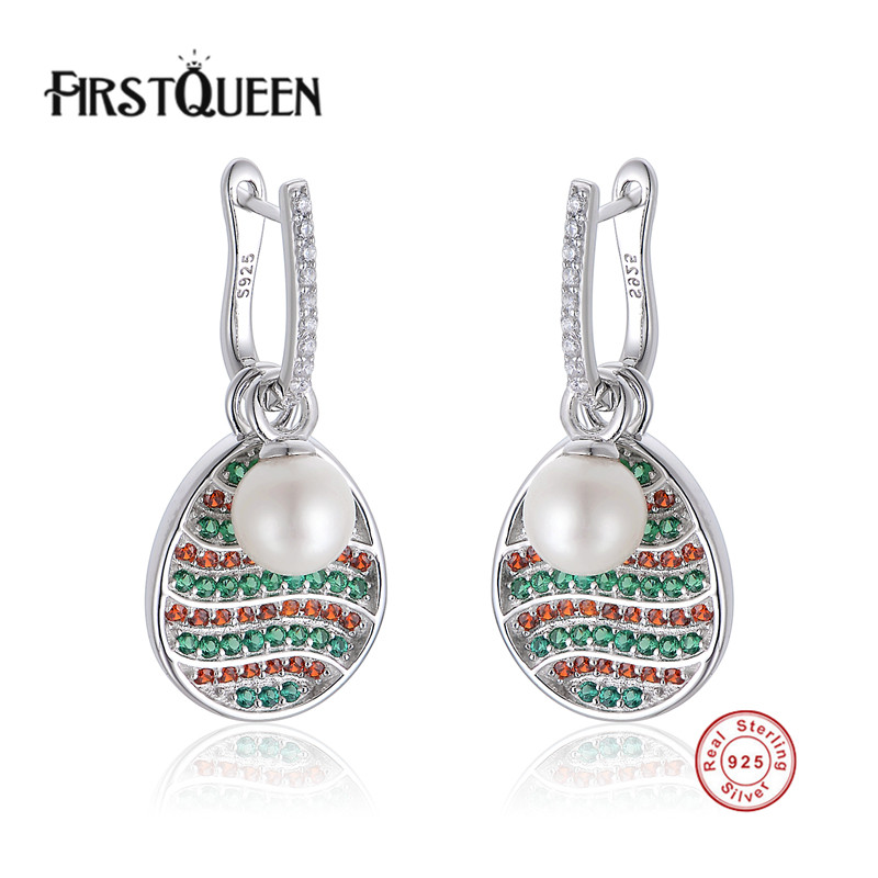 цена FirstQueen 925 Sterling Silver Elegant Pearl Drop Earrings Push-back Women Zirconia Earrings Jewelry Party & Gifts