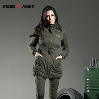 Free Army Brand 2015 Thickening Warm Winter Coat Hood Women Clothes Elastic Waist Hooded Parka Army